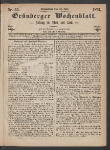 Grünberger Wochenblatt: Zeitung für Stadt und Land, No. 55. (11. Juli 1872)