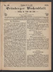 Grünberger Wochenblatt: Zeitung für Stadt und Land, No. 56. (14. Juli 1872)
