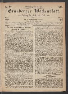 Grünberger Wochenblatt: Zeitung für Stadt und Land, No. 57. (18. Juli 1872)