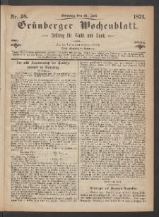 Grünberger Wochenblatt: Zeitung für Stadt und Land, No. 58. (18. Juli 1872)