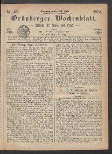 Grünberger Wochenblatt: Zeitung für Stadt und Land, No. 59. (25. Juli 1872)
