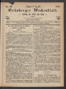 Grünberger Wochenblatt: Zeitung für Stadt und Land, No. 60. (28. Juli 1872)