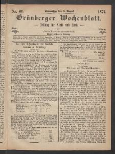 Grünberger Wochenblatt: Zeitung für Stadt und Land, No. 61. (1. August 1872)