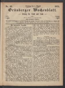 Grünberger Wochenblatt: Zeitung für Stadt und Land, No. 62. (4. August 1872)