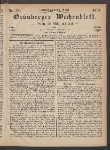 Grünberger Wochenblatt: Zeitung für Stadt und Land, No. 63. (8. August 1872)