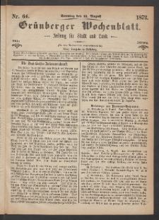 Grünberger Wochenblatt: Zeitung für Stadt und Land, No. 64. (11. August 1872)