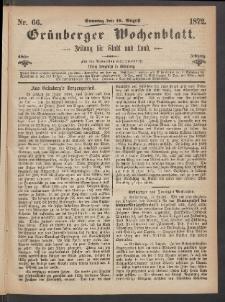 Grünberger Wochenblatt: Zeitung für Stadt und Land, No. 66. (18. August 1872)
