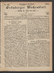 Grünberger Wochenblatt: Zeitung für Stadt und Land, No. 67. (22. August 1872)