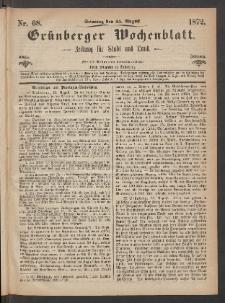 Grünberger Wochenblatt: Zeitung für Stadt und Land, No. 68. (25. August 1872)