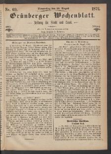 Grünberger Wochenblatt: Zeitung für Stadt und Land, No. 69. (29. August 1872)