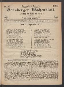Grünberger Wochenblatt: Zeitung für Stadt und Land, No. 70. (1. September 1872)