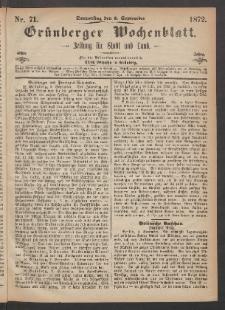 Grünberger Wochenblatt: Zeitung für Stadt und Land, No. 71. (5. September 1872)
