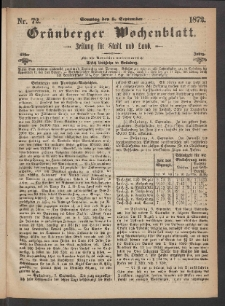 Grünberger Wochenblatt: Zeitung für Stadt und Land, No. 72. (8. September 1872)