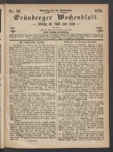 Grünberger Wochenblatt: Zeitung für Stadt und Land, No. 74. (15. September 1872)