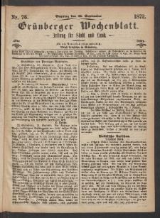 Grünberger Wochenblatt: Zeitung für Stadt und Land, No. 76. (22. September 1872)