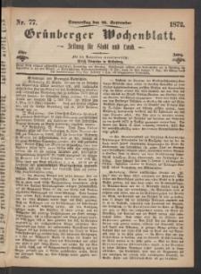Grünberger Wochenblatt: Zeitung für Stadt und Land, No. 77. (26. September 1872)