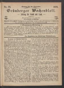Grünberger Wochenblatt: Zeitung für Stadt und Land, No. 78. (29. September 1872)