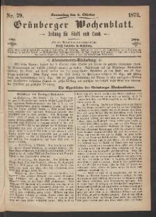 Grünberger Wochenblatt: Zeitung für Stadt und Land, No. 79. (3. Oktober 1872)