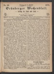 Grünberger Wochenblatt: Zeitung für Stadt und Land, No. 80. (6. Oktober 1872)