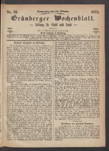 Grünberger Wochenblatt: Zeitung für Stadt und Land, No. 81. (10. Oktober 1872)