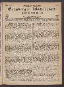 Grünberger Wochenblatt: Zeitung für Stadt und Land, No. 84. (20. Oktober 1872)