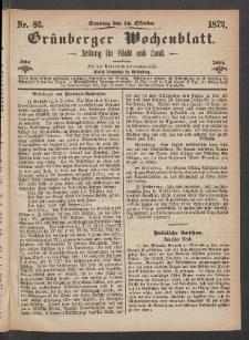 Grünberger Wochenblatt: Zeitung für Stadt und Land, No. 82. (13. Oktober 1872)