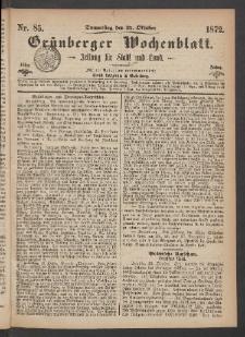 Grünberger Wochenblatt: Zeitung für Stadt und Land, No. 85. (24. Oktober 1872)