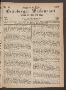 Grünberger Wochenblatt: Zeitung für Stadt und Land, No. 86. (27. Oktober 1872)