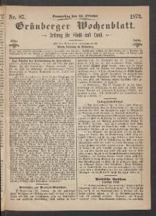 Grünberger Wochenblatt: Zeitung für Stadt und Land, No. 87. (31. Oktober 1872)