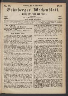 Grünberger Wochenblatt: Zeitung für Stadt und Land, No. 88. (3. November 1872)