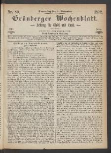 Grünberger Wochenblatt: Zeitung für Stadt und Land, No. 89. (7. November 1872)
