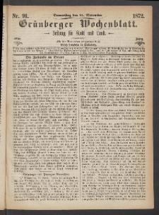 Grünberger Wochenblatt: Zeitung für Stadt und Land, No. 91. (14. November 1872)