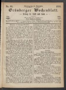Grünberger Wochenblatt: Zeitung für Stadt und Land, No. 92. (17. November 1872)