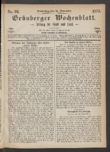 Grünberger Wochenblatt: Zeitung für Stadt und Land, No. 93. (21. November 1872)