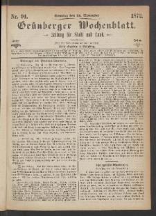 Grünberger Wochenblatt: Zeitung für Stadt und Land, No. 94. (24. November 1872)