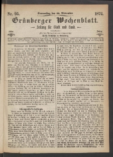 Grünberger Wochenblatt: Zeitung für Stadt und Land, No. 95. (28. November 1872)