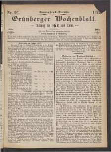Grünberger Wochenblatt: Zeitung für Stadt und Land, No. 96. (1. Dezember 1872)