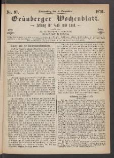 Grünberger Wochenblatt: Zeitung für Stadt und Land, No. 97. (5. Dezember 1872)