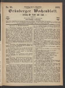 Grünberger Wochenblatt: Zeitung für Stadt und Land, No. 98. (8. Dezember 1872)