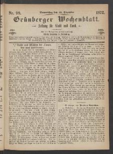 Grünberger Wochenblatt: Zeitung für Stadt und Land, No. 99. (12. Dezember 1872)