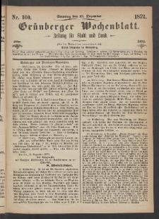 Grünberger Wochenblatt: Zeitung für Stadt und Land, No. 100. (15. Dezember 1872)