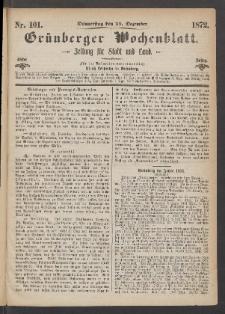 Grünberger Wochenblatt: Zeitung für Stadt und Land, No. 101. (19. Dezember 1872)