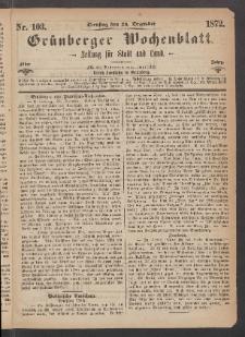 Grünberger Wochenblatt: Zeitung für Stadt und Land, No. 103. (24. Dezember 1872)