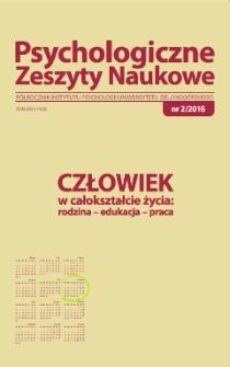 Psychologiczne Zeszyty Naukowe: półrocznik Instytutu Psychologii Uniwersytetu Zielonogórskiego, nr 2/2016 - spis treści