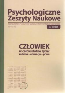 Psychologiczne Zeszyty Naukowe: półrocznik Instytutu Psychologii Uniwersytetu Zielonogórskiego, nr 1/2017 - spis treści