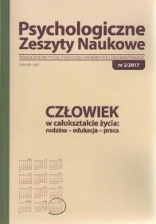Psychologiczne Zeszyty Naukowe: półrocznik Instytutu Psychologii Uniwersytetu Zielonogórskiego, nr 2/2017 - spis treści