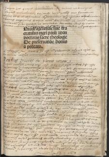 Quadragesimale siue tractatulus magistri Pauli wan doctoris sacre theologie De preseruatione hominis a peccato