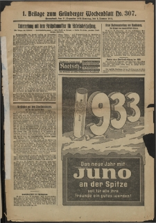 Grünberger Wochenblatt: Zeitung für Stadt und Land, No. 307. (31. Dezember 1932)