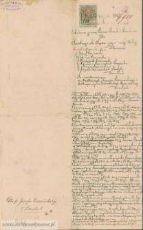 Józef Czerniecki - sądowy dokument hipoteczny do aktu darowizny z 1894 i aktu kupna sprzedaży z 1895