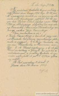 Józef Czerniecki - zezwolenie na wpis do hipoteki